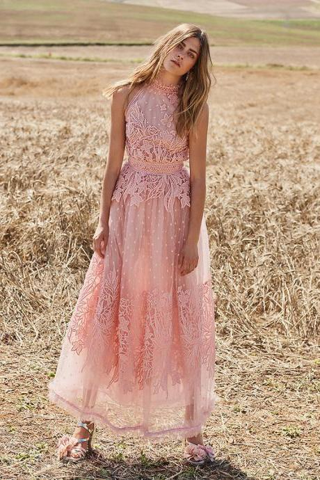 Sheath High Neck,Pink Lace , Sleeveless Evening Dress,Ankle Length Formal dress, Custom Made ,New Fashion