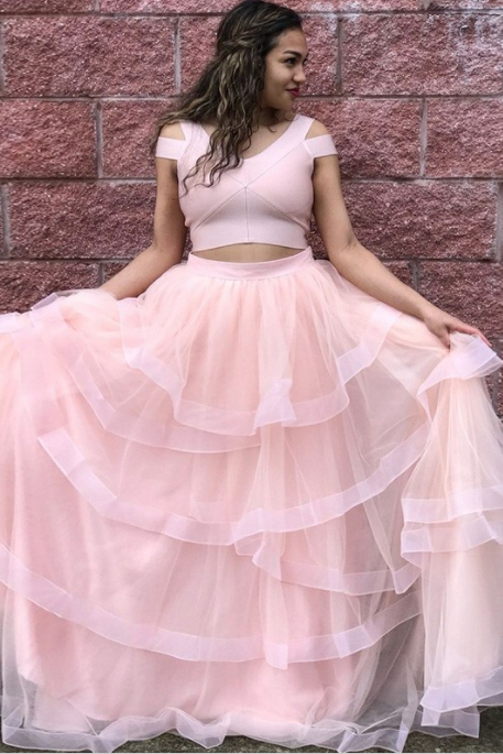 Two Piece, Scoop Cold Shoulder ,Floor-Length Pink Tiered Prom Dress, Formal Women Dress, Custom Made ,New Fashion