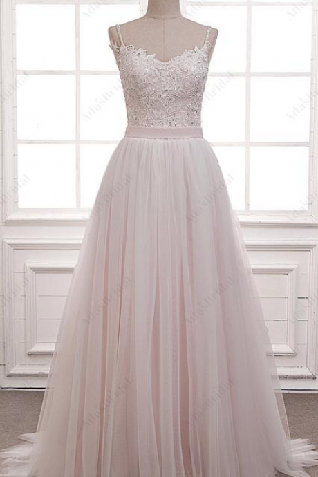 Exquisite Tulle ,Spaghetti Straps Neckline, A-Line Wedding Dress With Beaded Lace Appliques, A-line Prom Dress, Customize Made