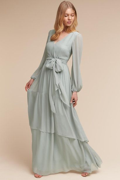 Fabulous Long Sleeves Prom Dress ,Billowing sleeves, V Neck, Tiered skirt ,Flowy chiffon dress,Floor Length , Customize Made ,2018 new fashion ,Prom Dress