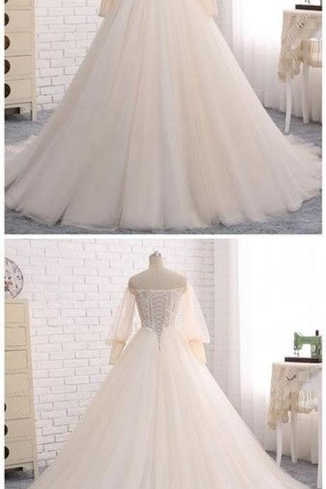 Off Shoulder Neckline Ball Gown,White Tulle Wedding Dress with Lace , Sweep Train ,Long Puff Sleeves ,Lace Appliques, Customize Made ,Prom Dress