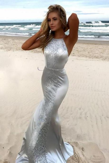 Trumpet/Mermaid Scoop Neck ,Silk-like Satin Sweep Train, Lace Prom Dresses,Floor Length , Customize Made ,2018 new fashion ,Prom Dress