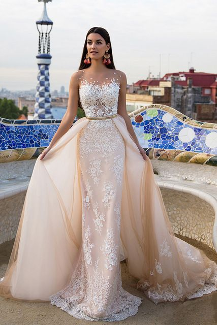 Stunning Tulle & Satin Bateau Neckline , Wedding Dresses With Lace Appliques ,Lace Appliques, Customize Made ,2018 new fashion ,Prom Dress