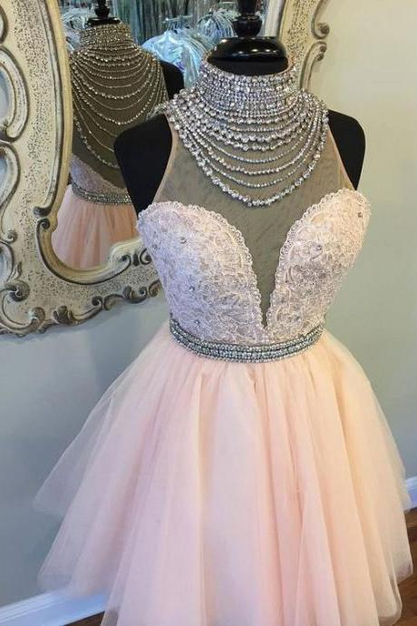 High Neck See Through Rhinestone Cute Pink Homecoming Dresses 2018,Sexy Sleeveless Formal Evening Dress,Custom Made,2018 New Fashion