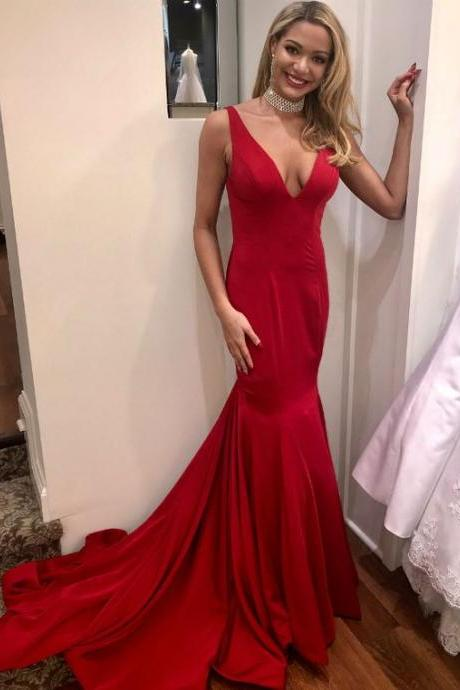 Sexy Red Deep V-Neck, Mermaid Straps Prom Dress,Backless Evening Dresses, Long Prom Dresses,Custom Made,Floor Length ,2018 New Fashion