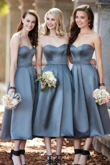Tea Length Strapless Grey Bridesmaid Dress, Midi Cocktail Party Dresses for Women,Sexy Formal Evening Dress,Custom Made,2018 New Fashion
