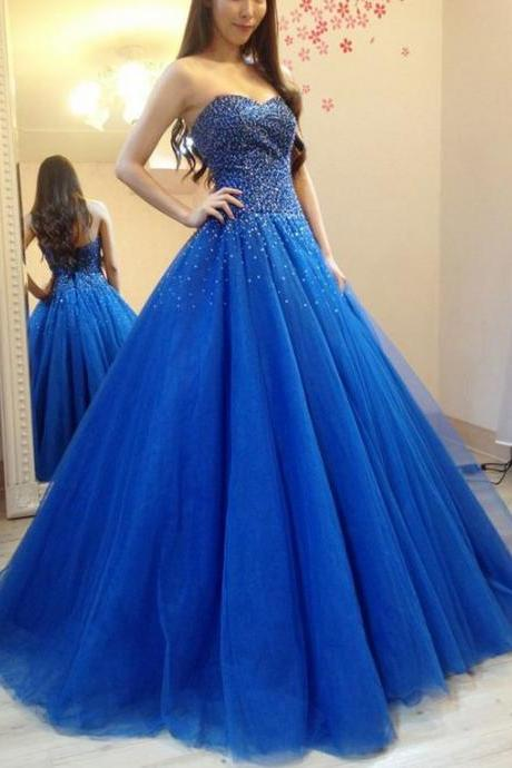 Elegant Tulle Royal Blue Ball Gown Prom Dress, Beaded Quinceanera Dress, Formal Dress ,Sexy Formal Evening Dress