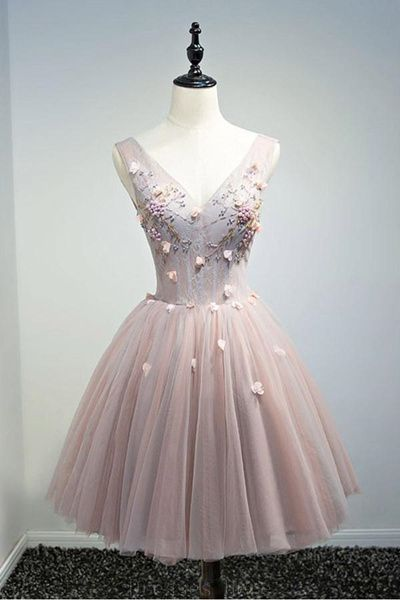 Vintage Ball-gown V-neck Short Tulle Homecoming Dress With Beading ,Sexy Formal Evening Dress,Custom Made,2018 New Fashion