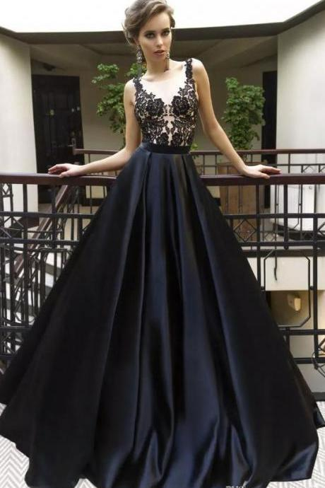 Sexy Black Applique Prom Dresses with Illusion Bodice,Satin A Line Evening Dresses,Prom Gowns,Sexy Formal Evening Dress,Custom Made,2018 New Fashion
