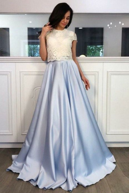 A-Line Round Neck Short Sleeves Sweep Train Light Sky Blue Satin Prom Dress with Lace,Sexy Formal Evening Dress,Custom Made,2018 New Fashion