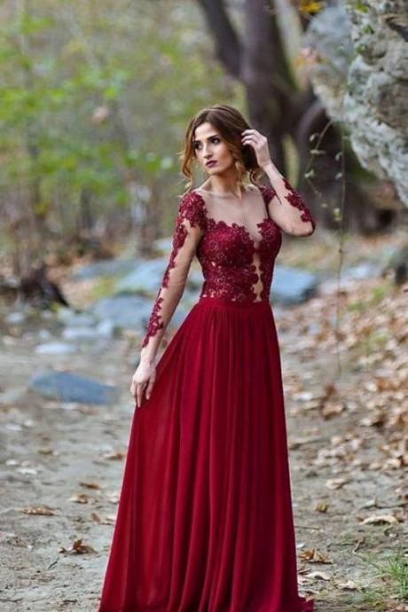 Burgundy Appliques, Long Sleeve Prom Dress, Sexy See Though Evening Dress,Custom Made,2018 New Fashion
