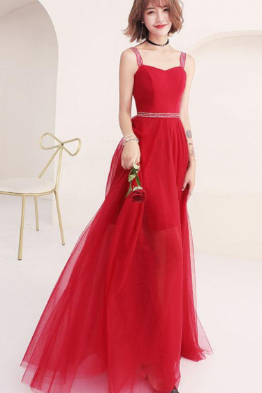 Red sweetheart tulle long prom dress, red evening dress, Long Evening Dress, Charming Prom Dresses