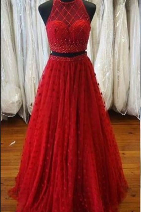 New Arrival Two Piece Prom Dress, Sexy Long Prom Dress,Halter Red Prom Gown,Tulle Beads Prom Party Dress,Prom Dresses, Long Evening Dress, Charming Prom Dresses