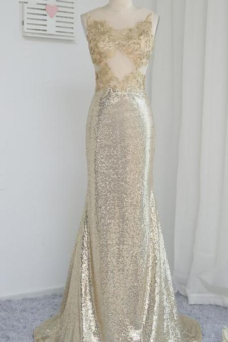 Champagne foil perspective party dress mother party dress, Long Evening Dress, Charming Prom Dresses