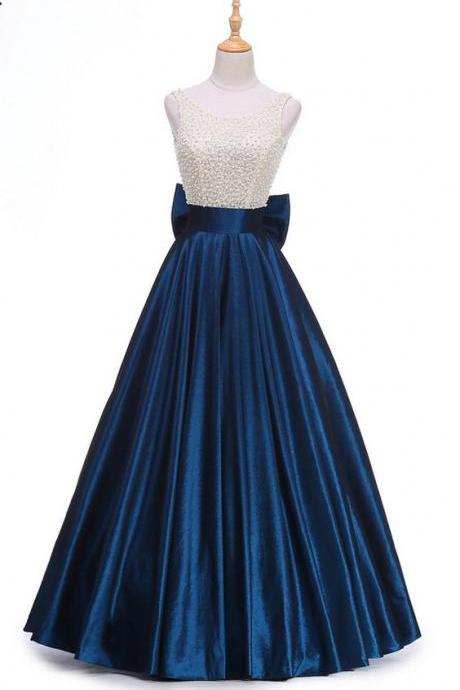 New Design Royal Blue Beading Top Vintage Prom Dress Big Back Bow Long Evening Dress, Long Evening Dress, Charming Prom Dresses