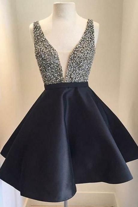 Black Prom Dress,Short Homecoming Dress,Princess Backless Homecoming Dress Sweet 16 Birthday Gowns, Charming Prom Dresses