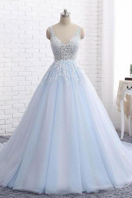 Elegant A-Line V-Neck Blue Tulle Long Prom/Evening Dress with Appliques