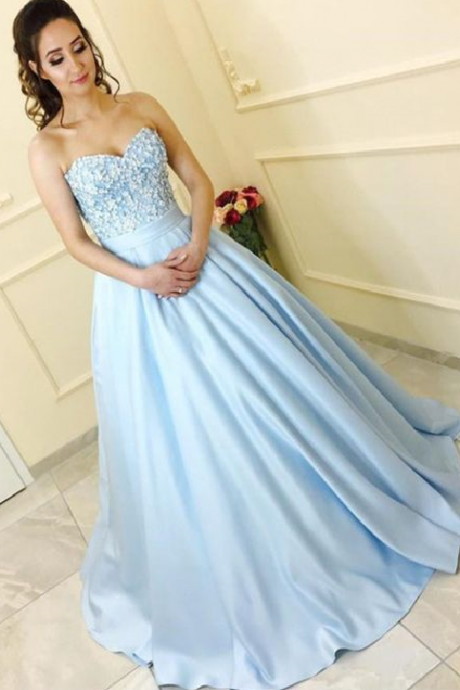 A-Line Sweetheart Light Blue Satin Prom Dress with Lace