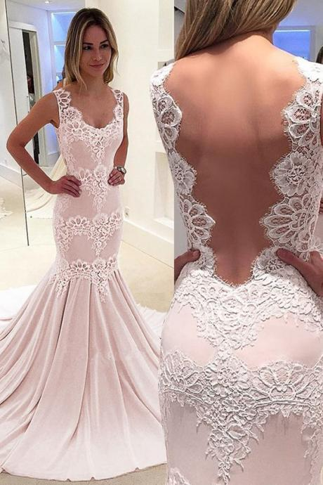Romantic Chiffon Scoop Neckline Mermaid Prom Dress With Lace Appliques