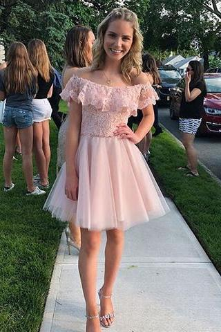 Pink lace short prom dress, homecoming dress ,Custom Made,Party Gown,Cheap Evening dress