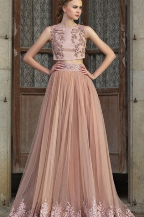 Two Pieces A line Prom Dress,Evening Dresses,With Sequins Beading Tulle Prom Dress, Graduation Dress
