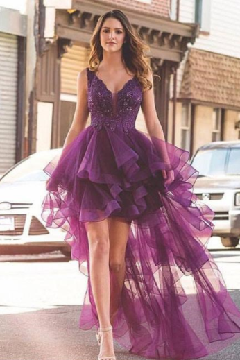 purple-v-neck-tulle-lace-short-prom-dress-purple-evening-dress