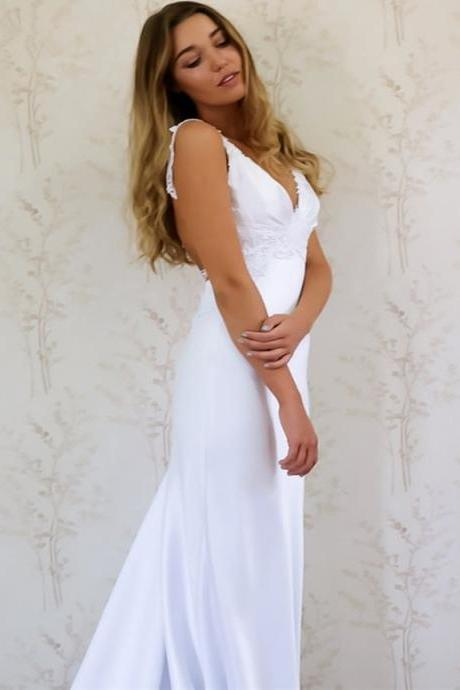 Elegant White Sweep Train Prom Dress,Sexy Backless Lace Satin Evening Dress,Romantic Wedding Dress