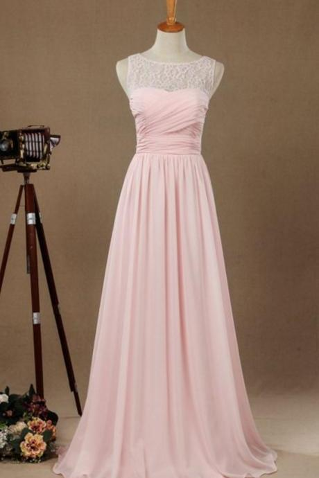 Sexy Pink Evening Dresses With Lace Bodice Sheer Neck Chiffon Prom Party Dress Formal Gowns