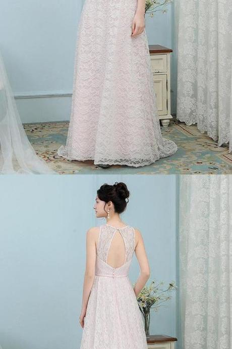 Two Piece Off-the-Shoulder Sweep Train White Prom Dress with AppliquesA-Line Round Neck Open Pink Pearl Pink Lace Bridesmaid Dress