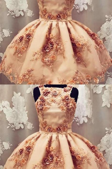 A-Line Square homecoming dress Neck Champagne Tulle Short Prom Dress with Flowers