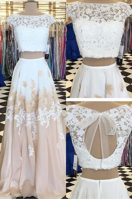 Two Piece Bateau Champagne Chiffon party dress Sweep Train Beaded Prom Dress with Appliques