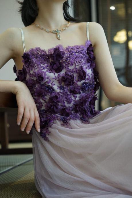 Spaghetti straps prom dress purple tulle party dress long evening dress with beading