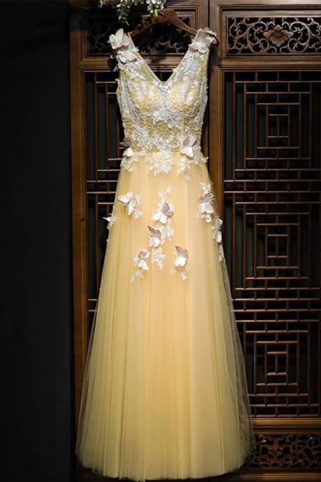 Charming Flowy Long Tulle evening dress V Neck Prom Dress With Lace Butterflies